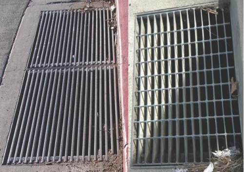 Common Grate (Left) ; More Bicycle-Friendly Grate (Right)