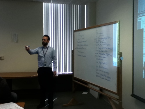 LADOT's Nate Baird tallies input during the plan program prioritization exercise.