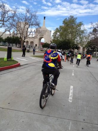 Community rides like this one organized by Ride South LA will be an integral element of Active Streets LA's public outreach. (Credit: Niall Huffman)