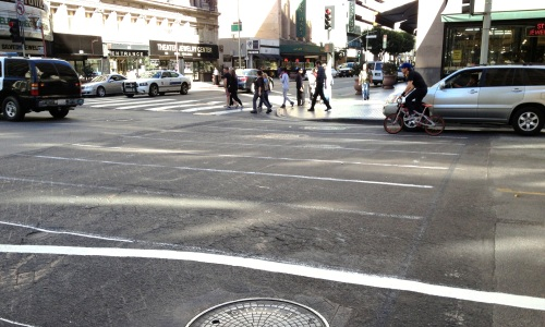 Continental crosswalk markings are coming to 7th Street (Credit: LADOT Bike Blog).