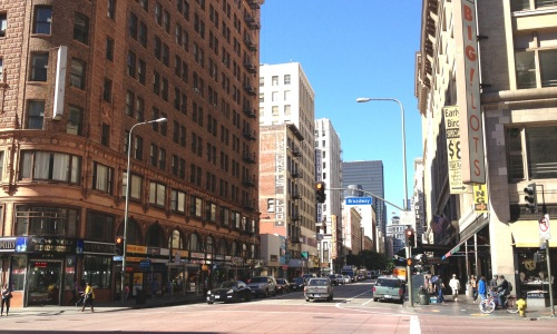 The intersection of 7th and Broadway, post-bike lane (Credit: LADOT Bike Blog).