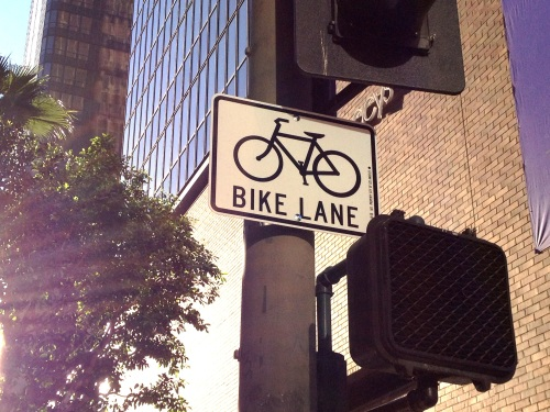 New bike lane signs were installed Friday morning (Credit: LADOT Bike Blog).