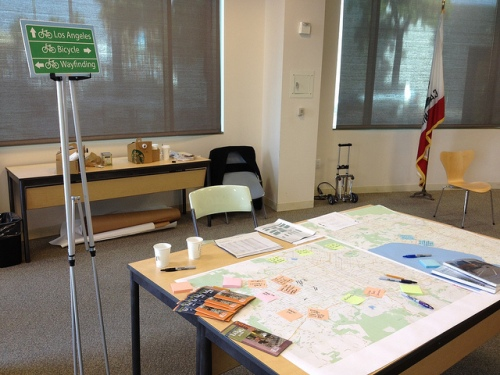 We held a series of workshops in 2012 to solicit input on what destinations should be included in the system. Credit: LADOT Bike Blog.