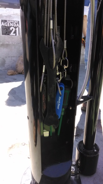 A close up pciture of the tools that each bicycle repair stand will include.