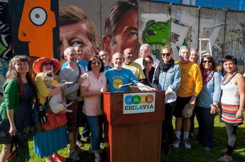 """General Manager Jon Kirk Mukri participated in the CicLAvia press conference with Council Members LaBonge and O'Farrell"""
