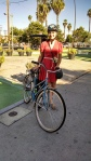 Shara bicycling to work for the first time!