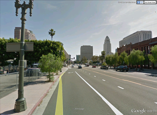 Looking South on Los Angeles St. towards City Hall.