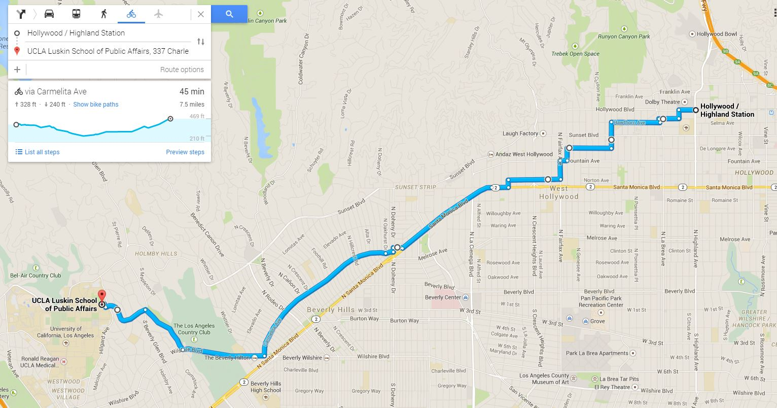 My Bicycle Route NoHo To UCLA LADOT BIKE BLOG - Map my bike