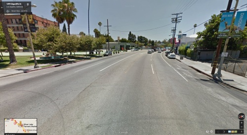 Using the bike lane on Sunset and passing the Sunset-Silverlake Junction Plaza.