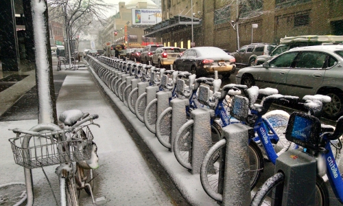 A citybike station covered in snow in Fort Green, Brooklyn.