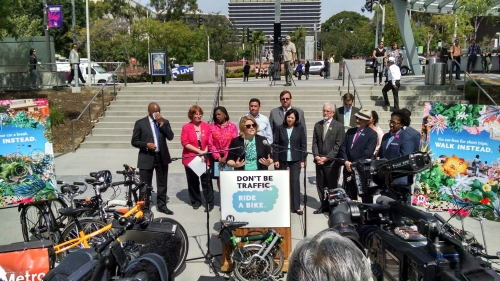 Seleta Reynolds, LADOT General Manager, speaking at Grand Park's Bike Week 2015 Press Conference on Monday.  Image: LADOT Bike Program.