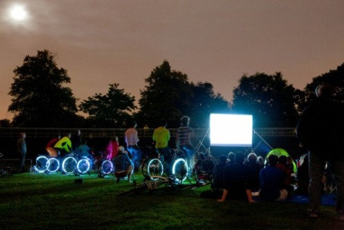 Bike-In Movie Night at Marsh Park had a full house, with over 100 people showing up on bikes. Image: East Side Riders BC.